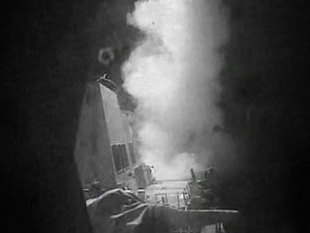 This frame grab of video provided by the United States Navy shows moments after a U.S.-launched Tomahawk cruise missile hits a coastal radar site in Houthi-controlled territory on Yemen's Red Sea Coast on Thursday, Oct. 13, 2016. Tomahawk cruise missiles destroyed three coastal radar sites in Houthi-controlled territory early Thursday, officials said, a retaliatory action that followed two incidents this week in which missiles were fired at U.S. Navy ships. (U.S. Navy via AP Video)