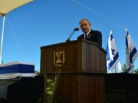 In this GPO handout, Israeli Prime Minister Benjamin Netanyahu speaks at the funeral of Shimon Peres at Mount Herzl Cemetery on September 30, 2016 in Jerusalem, Israel. World leaders and dignitaries from 70 countries attended tthe state funeral of Israel's ninth president, Shimon Peres, in Jerusalem on Friday, after thousands of Israelis paid their last respects to the elder statesman who died on Wednesday. (Photo by Kobi Gideon/GPO via Getty Images)