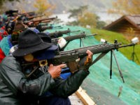 Participants fire their infantry and assault rifles during the traditional 'Ruetlischiessen' (Ruetli shooting) competition at the Ruetli meadow in central Switzerland November 6, 2013. REUTERS/Arnd Wiegmann/File Photo