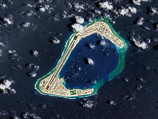 SUBI REEF, SOUTH CHINA SEA - SEPTEMBER 2016: (SOUTH AFRICA OUT) A satellite image of Subi Reef, an artificial island being developed by China in the Spratly Islands in the South China Sea. Image taken 4 September 2016. (Photo by USGS/NASA Landsat data/Orbital Horizon/Gallo Images/Getty Images)