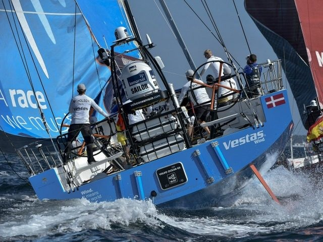 In this handout image provided by the Volvo Ocean Race, Team Vestas Wind during the start of Leg 9 from L'Orient via the Hague to Gothenburg on June 16, 2015 in Lisbon, Portugal. The Volvo Ocean Race 2014-15 is the 12th running of this ocean marathon. Starting from Alicante in …