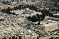 Aerial view of the Dome of the Rock (left) in the compound known to Muslims as al-Haram al-Sharif (Noble Sanctuary) and to Jews as Temple Mount, in Jerusalem's old city on October 02, 2007