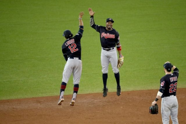 Francisco Lindor and Rajai Davis of the Cleveland Indians celebrate after defeating the Toronto Blue Jays at Rogers Centre on October 17, 2016 in Canada