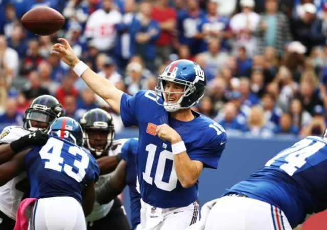Giants' quaterback Eli Manning is one of his team's few remaining players who defeated the Dolphins at Wembley in the first NFL regular-season game played in the UK