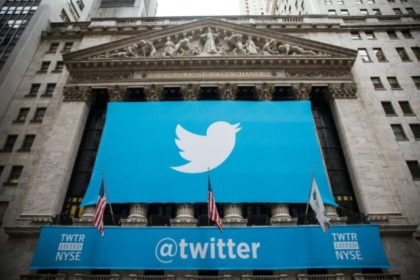 The Twitter logo displayed on a banner outside the New York Stock Exchange