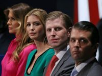 Family members of Republican presidential nominee Donald Trump, (from L-R) wife Melania Trump, daughter Ivanka Trump, and sons Eric Trump and Donald Trump Jr., pictured on October 9, 2016
