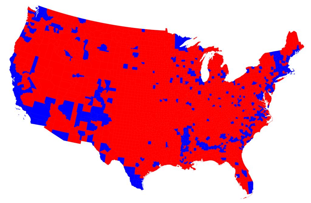 Donald Trump Won Million Popular Vote Landslide In Heartland - Us protest map vs voter map