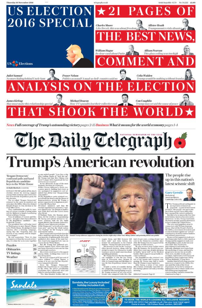 "The Daily Telegraph splashes with ""Trump's American Revolution"""