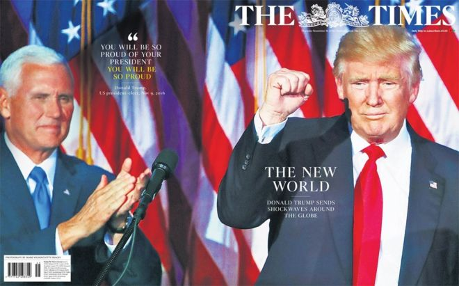 "The Times has produced a special wrap-around cover proclaiming the ""New World"""