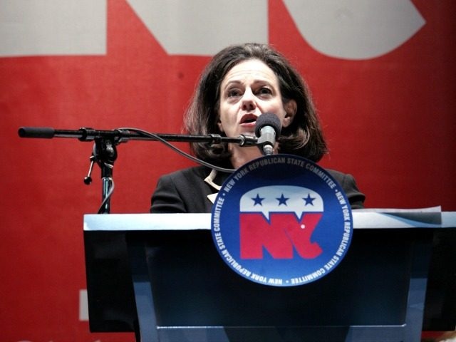 """Kathleen Troia """"KT"""" McFarland delivers a speech during the New York state republican convention, Wednesday, May 31, 2006 in Hempstead, N.Y."""