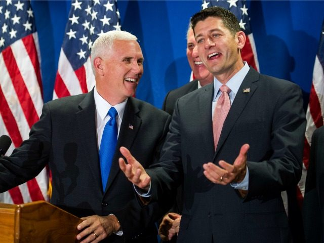 Republican vice President candidate Indiana Gov. Mike Pence, left, House Majority Leader Kevin McCarthy of Calif., center, and House Speaker Paul Ryan of Wis. share a laugh during a news conference following their meeting at the Republican National Headquarters on Capitol Hill in Washington, Tuesday, Sept. 13, 2016. (