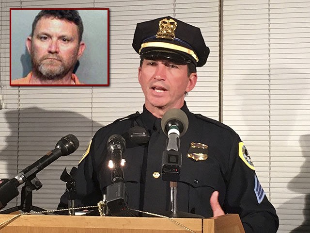Des Moines Police Sgt. Paul Parizek speaks during a news conference Wednesday, Nov. 2, 2016, at Des Moines police headquarters in Des Moines, Iowa. Authorities say two police officers in the Des Moines, Iowa, area were shot to death in ambush-style attacks about 2 miles apart. (AP Photo/Scott McFetridge)