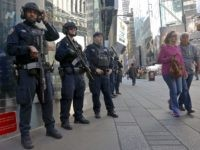 Officers from the NYPD anti-terror unit patrol Times Square, Friday Nov. 4, 2016, in New York. The FBI and New York Police Department say they are assessing the credibility of information they received of a possible al-Qaida terror attack against the U.S. on the eve of Election Day. Officials say …