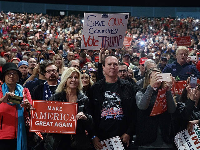 Supporters of Republican presidential candidate Donald Trump speaks during a campaign rally, Sunday, Nov. 6, 2016, in Sterling Heights, Mich. (AP Photo/ Evan Vucci)