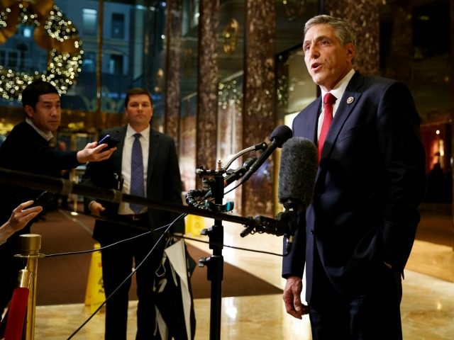 Rep. Lou Barletta, R-Pa., talks with reporters after a meeting with President-elect Donald Trump at Trump Tower, Tuesday, Nov. 29, 2016, in New York. (