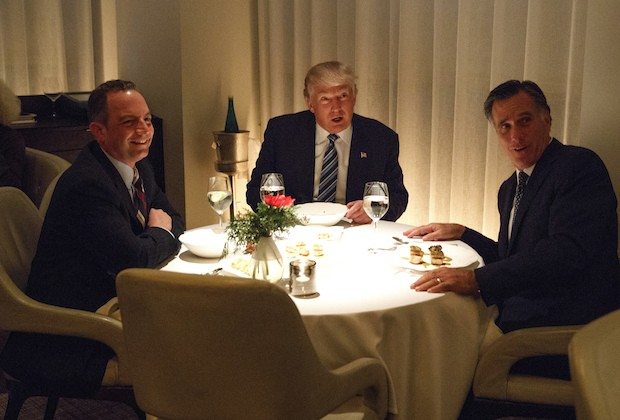 President-elect Donald Trump, center, eats dinner with former Republican presidential nominee Gov. Mitt Romney, right, and Trump Chief of Staff Reince Priebus at Jean-Georges restaurant, Tuesday, Nov. 29, 2016, in New York. (AP Photo/Evan Vucci)