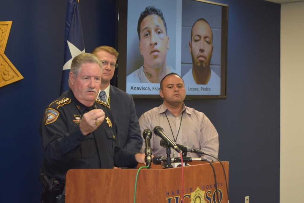 Harris County Sheriff Ron Hickman and detectives brief press on child sexual assault case involving a previously deported illegal alien. (Photo: Bob Price/Breitbart Texas)