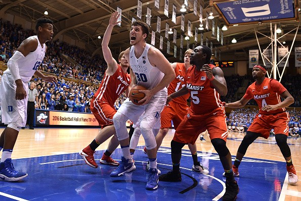 DURHAM, NC - NOVEMBER 11: Antonio Vrankovic #30 of the Duke Blue Devils gets an offensive rebound against the Marist Red Foxes at Cameron Indoor Stadium on November 11, 2016 in Durham, North Carolina. (Photo by Lance King/Getty Images)