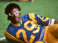 ANAHEIM,CA - DECEMBER 17: Eric Dickerson #29 of the Los Angeles Rams warms up before a National Football League game against the Houston Oilers played on December 17, 1984 at Anaheim Stadium in Anaheim, California. Dickerson set a new NFL single season rushing record during the game. (Photo by David …