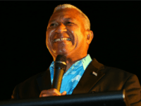 Bainimarama speaks at the Fiji Festival at Vodafone Events Centre, Manukau on August 9, 2014 in Auckland, New Zealand. The purpose of Mr Bainimarama's visit to New Zealand is to address his outlining plans for Fiji and to speak about the general election which is due to be held on …