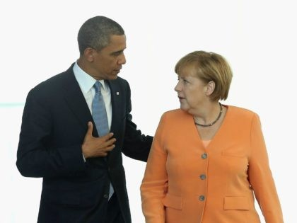 Barack Obama and German Chancellor Angela Merkel