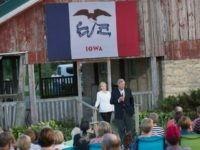 Hillary Clinton and Secretary of Agriculture Tom Vilsack August 26, 2015 in Baldwin, Iowa.
