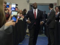 NORTH CHARLESTON, SC - FEBRUARY 19: Sen. Tim Scott arrives prior to Republican presidential candidate Marco Rubio speaking at a rally February 19, 2016 in North Charleston, South Carolina. Rubio is campaigning throughout South Carolina ahead of the state's primary. (Photo by Aaron P. Bernstein/Getty Images)