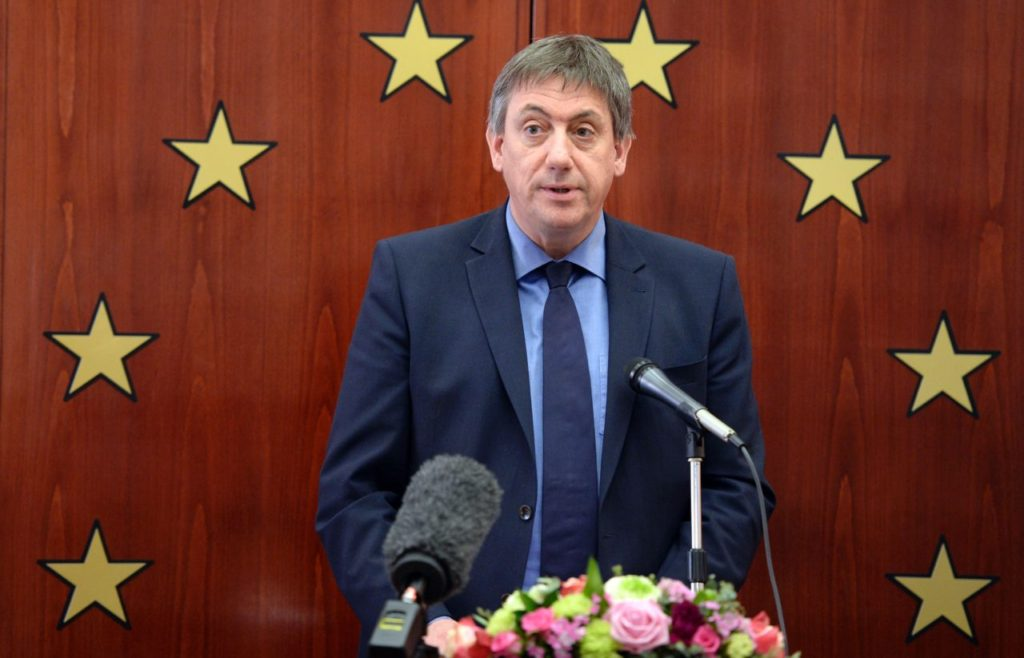 Belgian Minister for Security and the Interior Jan Jambon delivers a speech during a Memorial Ceremony for the victims of the Brussels terror attacks at the European Jewish building in Brussels, on April 19, 2016. / AFP / THIERRY CHARLIER (Photo credit should read THIERRY CHARLIER/AFP/Getty Images)