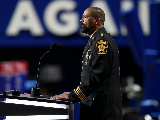 Sheriff David Clarke addresses delegates during the evening session of the Republican National Convention at the Quicken Loans arena in Cleveland, Ohio on July 18, 2016.