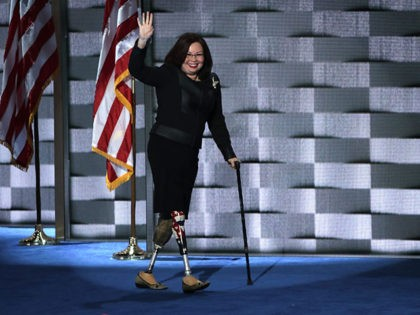 PHILADELPHIA, PA - JULY 28: U.S. Representative Tammy Duckworth (D-IL) on the fourth day of the Democratic National Convention at the Wells Fargo Center, July 28, 2016 in Philadelphia, Pennsylvania. Democratic presidential candidate Hillary Clinton received the number of votes needed to secure the party's nomination. An estimated 50,000 people …