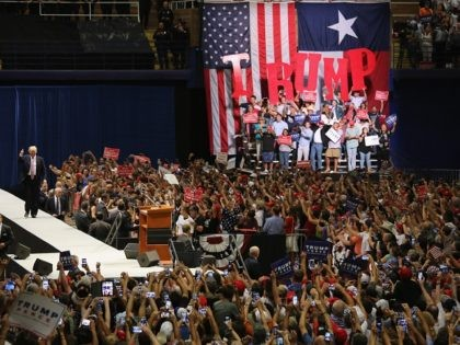 AUSTIN, TX - AUGUST 23: Republican Presidential nominee Donald Trump arrives to address supporters on August 23, 2016 in Austin, Texas. Thousands of attended Trump's address in Austin, traditionally a a progressive bastion in conservative Texas. (Photo by John Moore/Getty Images)