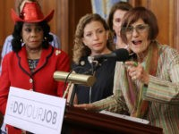 WASHINGTON, DC - SEPTEMBER 07: (L-R) Rep. Frederica Wilson (D-FL), Democratic National Committee Chair Rep. Debbie Wasserman Schultz (D-FL), House Minority Leader Nancy Pelosi (D-CA) and Rep. Rosa DeLauro (D-CT) hold a news conference to call on Republicans to fund programs to combat the spread of the Zika virus at …