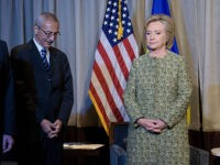 Clinton advisors Jake Sullivan (L), Nick Burns (2L) and John Podesta (2R) wait with Clinton Campaign Chairman, Democratic presidential nominee Hillary Clinton for a meeting with Ukrainian President Petro Poroshenko on September 19, 2016 in New York. / AFP / Brendan Smialowski        (Photo credit should read BRENDAN SMIALOWSKI/AFP/Getty Images)