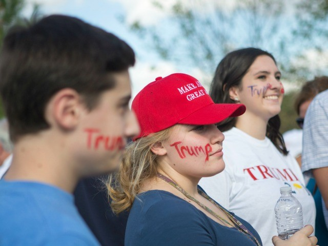 NEWTOWN, PA - OCTOBER 21: Supporters wait outside before a campaign rally for Republican presidential nominee Donald Trump on October 21, 2016 in Newtown, Pennsylvania. Trump and Democratic presidential nominee Hillary Clinton continue to campaign as Election Day nears. (Photo by Jessica Kourkounis/Getty Images)