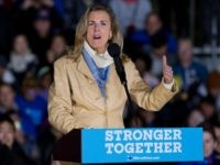 Senate candidate Katie McGinty speaks to the crowd before presidential candidate Hillary Clinton arrives at a rally in Philadelphia, Pennsylvania on October 22, 2016. / AFP / DOMINICK REUTER (Photo credit should read