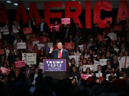 Republican presidential nominee Donald Trump holds a campaign rally at Macomb Community College South Campus October 31, 2016 in Warren, Michigan.