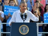President Barack Obama speaks to a crowd of 16,000 people while campaigning for Democratic Presidential nominee Hillary Clinton at the University of Chapel Hill on November 2, 2016 in Chapel Hill, North Carolina. President Obama mentioned the Klan.
