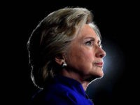 US Democratic presidential nominee Hillary Clinton looks on during a campaign rally in Tempe, Arizona, on November 2, 2016.  / AFP / JEWEL SAMAD        (Photo credit should read JEWEL SAMAD/AFP/Getty Images)