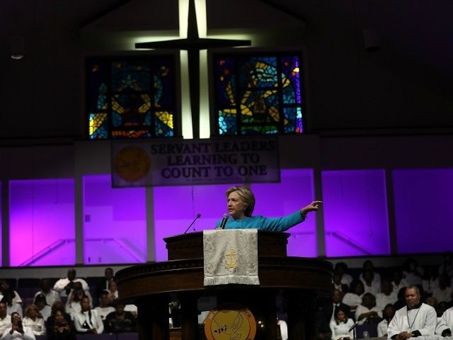 PHILADELPHIA, PA - NOVEMBER 06: Democratic presidential nominee former Secretary of State Hillary Clinton during chuch services at Mt. Airy Church of God in Christ on November 6, 2016 in Philadelphia, Pennsylvania. With three days to go until election day, Hillary Clinton is campaigning in Florida and Pennsylvania. (Photo by …