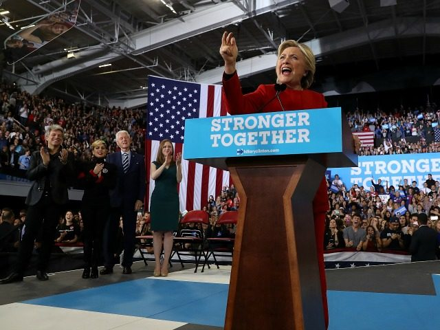 Democratic presidential nominee former Secretary of State Hillary Clinton speaks during a campaign rally at North Carolina State University on November 8, 2016 in Raleigh North Carolina.