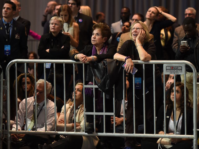 People watch elections returns during election night at the Jacob K. Javits Convention Center in New York on November 8, 2016. US Democratic presidential nominee Hillary Clinton will hold her election night event at the convention center. / AFP / DON EMMERT (Photo credit should read DON EMMERT/AFP/Getty Images)