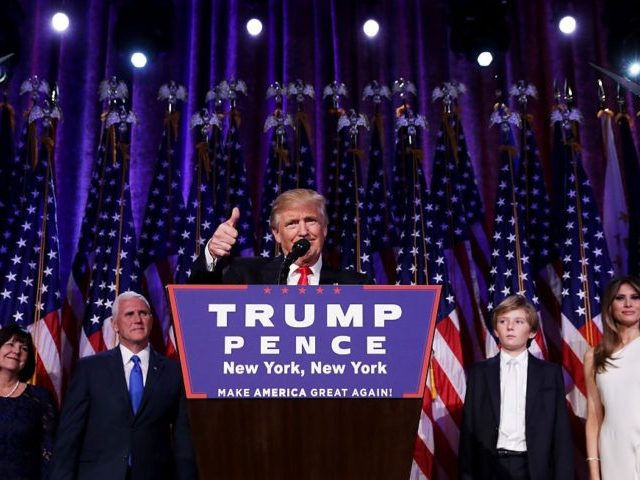 NEW YORK, NY - NOVEMBER 09: Republican president-elect Donald Trump delivers his acceptance speech during his election night event at the New York Hilton Midtown in the early morning hours of November 9, 2016 in New York City. Donald Trump defeated Democratic presidential nominee Hillary Clinton to become the 45th …