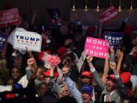 Supporters of Republican presidential nominee Donald Trump cheer during election night at the New York Hilton Midtown in New York on November 9, 2016. / AFP / JIM WATSON (Photo credit should read JIM WATSON/AFP/Getty Images)