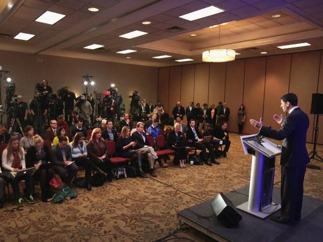 Speaker of the U.S. House of Representatives Paul Ryan (R-WI) speaks to the press November 9, 2016 in Janesville, Wisconsin.