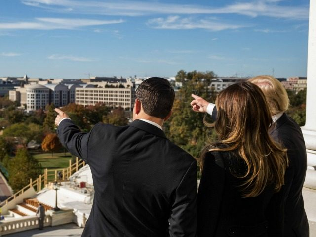 House Speaker Paul Ryan (R-WI) shows President-elect Donald Trump and his wife, Melania Trump the Speaker's Balcony at the U.S. Capitol on November 10, 2016 in Washington, DC.