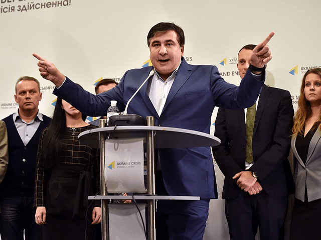Mikheil Saakashvili gestures as he speaks during his press-conference in Kiev on November 11, 2016. Georgia's pro-Western former president Mikheil Saakashvili on November 11, 2016, announced plans to create a new opposition movement in Ukraine that aims to topple the current leadership and force early elections. Saakashvili was a passionate …