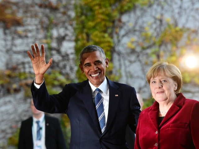 President Barack Obama is greeted by German Chancellor Angela Merkel upon arrival at the chancellery on November 17, 2016 in Berlin. US President Barack Obama pays a farewell visit to German Chancellor Angela Merkel, seen by some as the new standard bearer of liberal democracy since the election of Donald …
