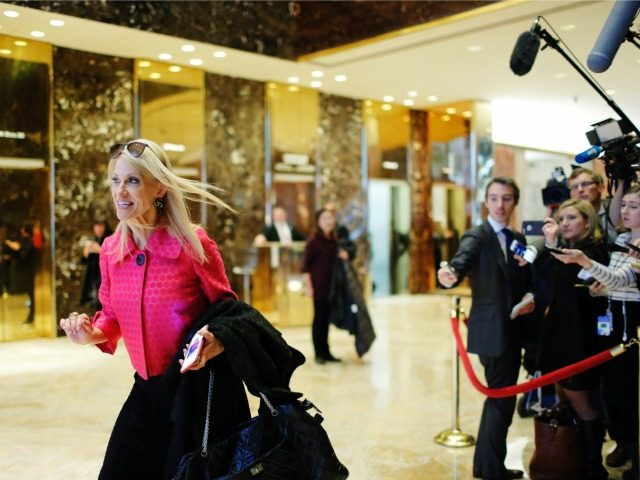 US President-elect Donald Trump's campaign manager Kellyanne Conway (L) speaks with the media as she exits Trump Tower after meetings with US President-elect Donald Trump, in New York on November 17, 2016. / AFP / Eduardo Munoz Alvarez (Photo credit should read EDUARDO
