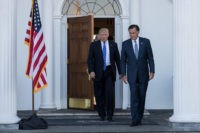 BEDMINSTER TOWNSHIP, NJ - NOVEMBER 19: (L to R)  President-elect Donald Trump and Mitt Romney leave the clubhouse after their meeting at Trump International Golf Club, November 19, 2016 in Bedminster Township, New Jersey. Trump and his transition team are in the process of filling cabinet and other high level positions for the new administration.  (Photo by )