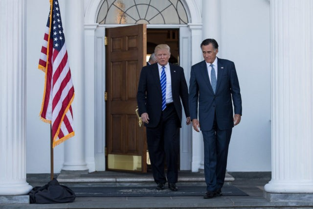 BEDMINSTER TOWNSHIP, NJ - NOVEMBER 19: (L to R) President-elect Donald Trump and Mitt Romney leave the clubhouse after their meeting at Trump International Golf Club, November 19, 2016 in Bedminster Township, New Jersey. Trump and his transition team are in the process of filling cabinet and other high level …